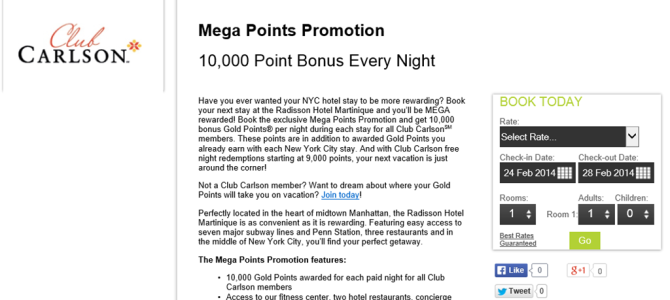 Radisson Mega Points Promotion  – 10,000 Point Bonus Every Night