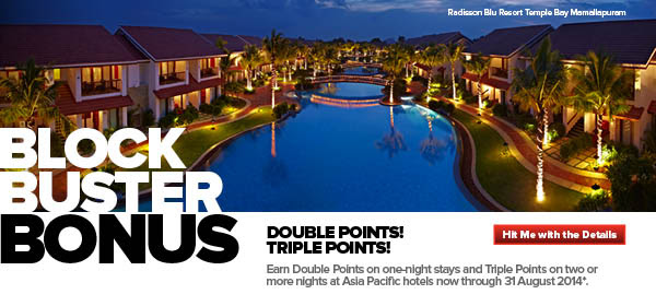 Club Carlson block buster Promo: Earn Double points and Triple Points for Asia Hotels bookings