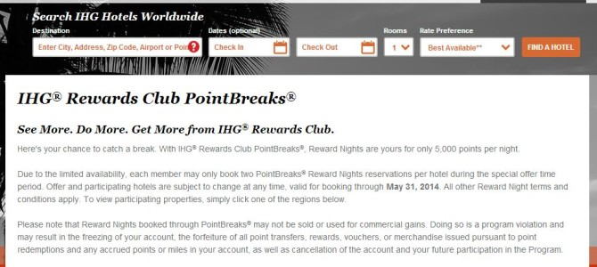 IHG Rewards Club: PointBreaks hotel list for May has released (May 27 – 31 July 2014)
