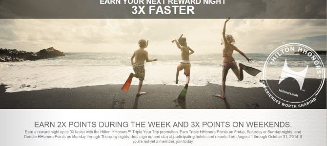 Hilton HHonors double and triple bonus points offer for 2014 Q3