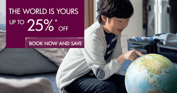 Qatar Airways up to 25% off on worldwide destinations. Book by September 17, 2014.