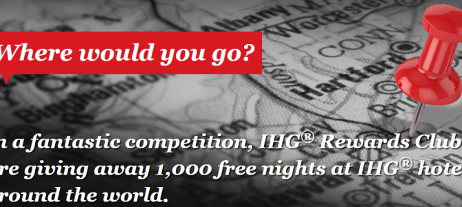 IHG Rewards Club is giving free award nights for 1,000 winners of lucky draw