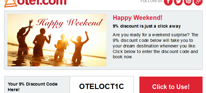 "otel.com 9% off promotion code ""OTELOCT1C"" – Book by October 7,2014"