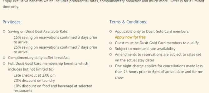 Dusit Promo: 25% off, Free Breakfast and late check out