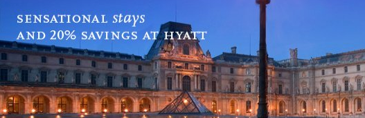 Hyatt 20% off Promotion for Europe, Africa, Middle East and India and 1,000 bonus points – Book by January 24, 2015