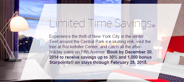 Starwood New York and New Jersey Promo: Up to 30% off and earn 1,000 bonus Starpoints