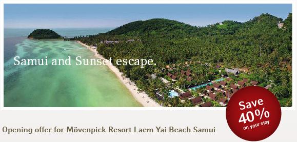 40% off discount code for Mövenpick Resort Laem Yai Beach Samui – New opening offer