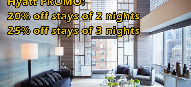 Hyatt US Promo: Enjoy 20% off stays of 2 nights or more and enjoy 25% off stays of 3 nights