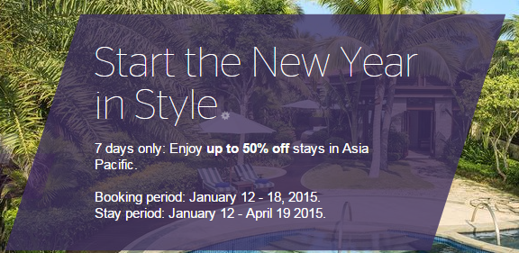 Starwood Red hot deal: up to 50% off for Asia Pacific hotels and resorts – Book by January 18, 2015