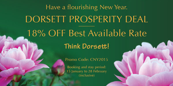 Dorsett Hotel 18% off best available rate discount code – Book by February 28th, 2015