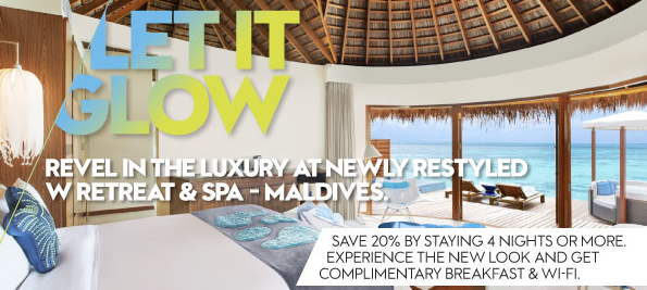 W Retreat & Spa Maldives 20% off discount code and with free breakfast and free Wi-Fi