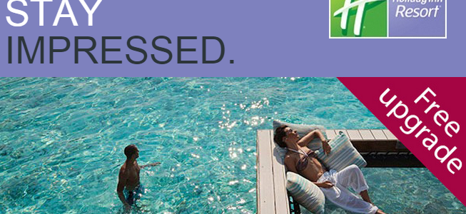 Guaranteed room upgrade when you click through below link to book Holiday Inn Resort in Maldives, Bali, Thailand and Malaysia. Kids Stay Free.