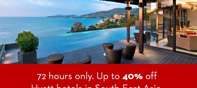 Preview: Hyatt 72 hours flash sale, up to 40% off for hotels in South East Asia