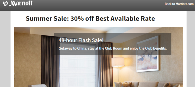 Marriott China 30% off flash sale – Book by June 26