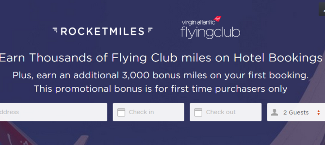 Rocketmiles Virgin Atlantic Miles Promo: Earn at least 3,500 Virgin Atlantic Miles on your first booking