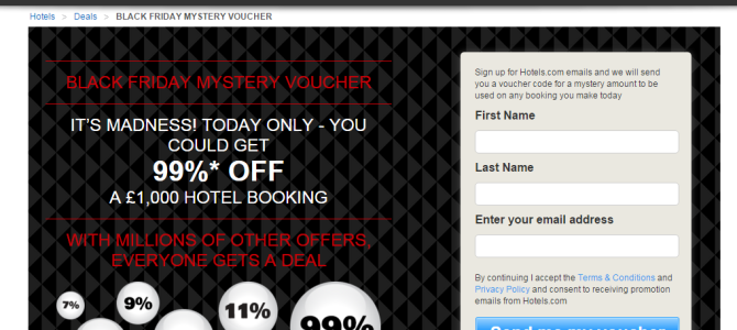 UK Hotels.com giving 99% off coupon on Black Friday (Try your luck to win)