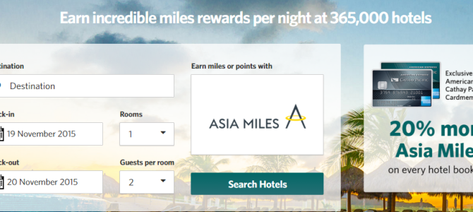 Get 5,000 Asia Miles when you use your American express Cathay Pacific credit card to book your first stay on Kaligo