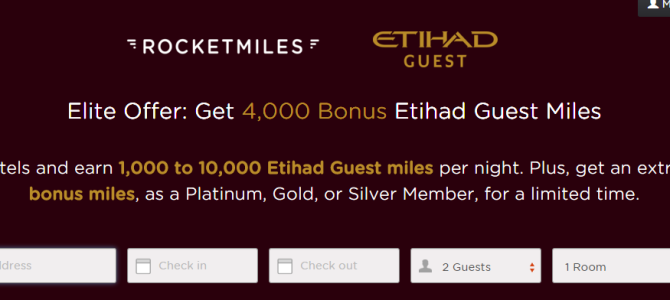 Rocketmiles Etihad Miles Promo: Earn at least 4,000 Etihad Airways Miles on your first booking