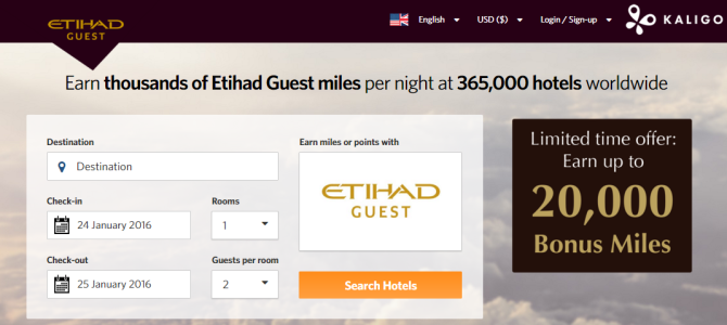 Earn 5,000 bonus Etihad Guest miles when you spend USD $500 or more cumulatively by 31 March 2016