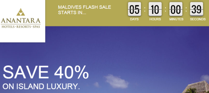Preview: Anantara and Per Aquum is going to have 40% off flash sale for 6 hotels in Maldives