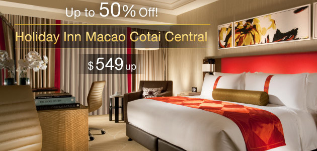Macau Holiday Inn Cotai Central Half Price – Rate from HK$549. Book by January 24