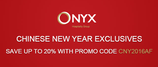 ONYX Hospitality 2016 new discount code – Get max 20% off and book by February 28, 2016