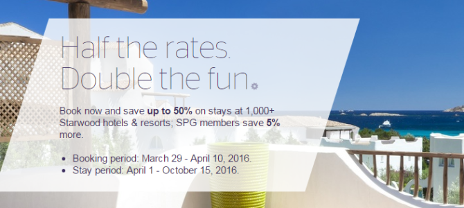 Starwood Asia-Pacific up to 50% off. US, Europe, Middle East and Africa 20% off. SPG members get extra 5% off