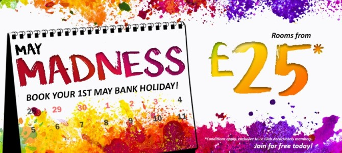 Preview: Accorhotels May Madness promo. UK ibis hotel from £25 up. Novotel and Mercure from £40up