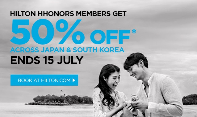 Hilton 50% off for hotels in Japan , Korea and Guam – Book by July