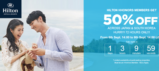 Hilton 50% off for hotels in Japan and Korea – Book by September 9